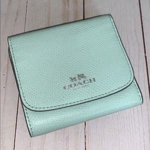 Coach seaglass wallet NWT trifold pebble leather